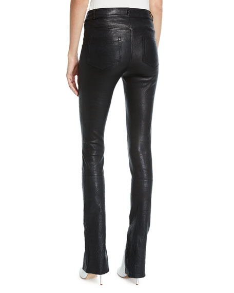 Constance Split-Front Leather Skinny Pants