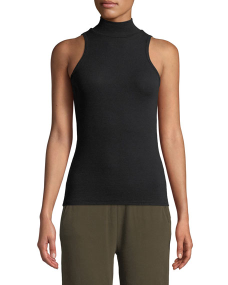 ATM Anthony Thomas Melillo Sleeveless Fitted Mock-Neck Top