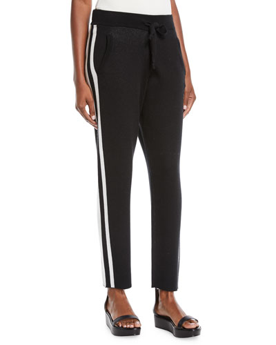 Cashmere-Blend Jogger Sweatpants w/ Racer Stripes