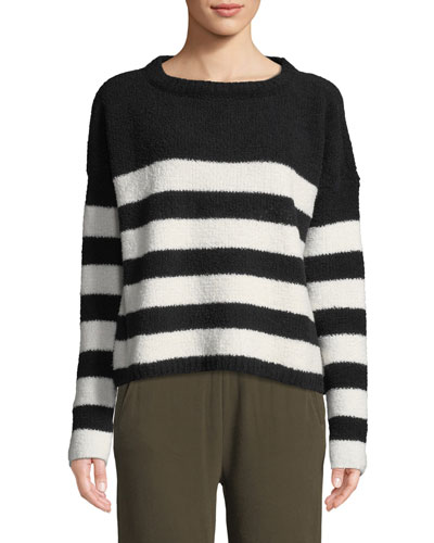 Striped Chenille Boat-Neck Sweater