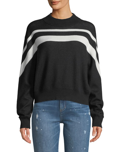 Cashmere-Blend Intarsia Striped Pullover Sweater