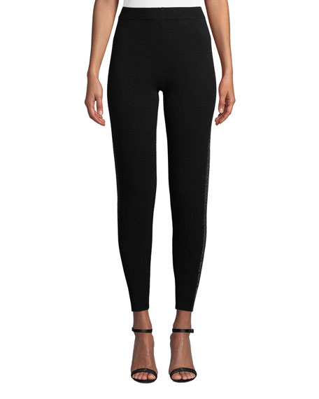 Sparkle Side-Stripe Cashmere-Blend Sweater Pants in Black