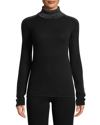 Sparkle Side-Stripe Turtleneck Cashmere Sweater