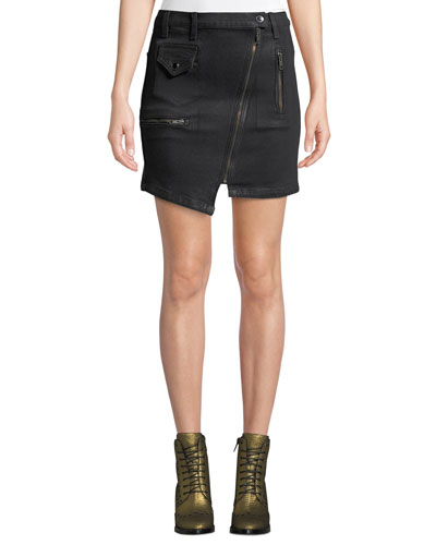 High-Rise Asymmetric-Zip Moto Skirt