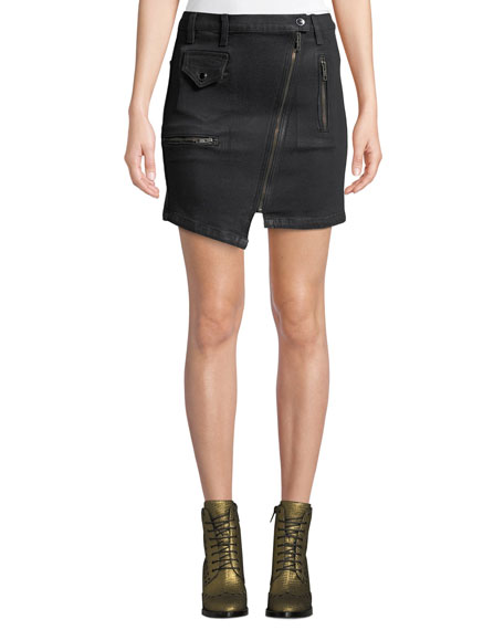 Image 1 of 1: High-Rise Asymmetric-Zip Moto Skirt