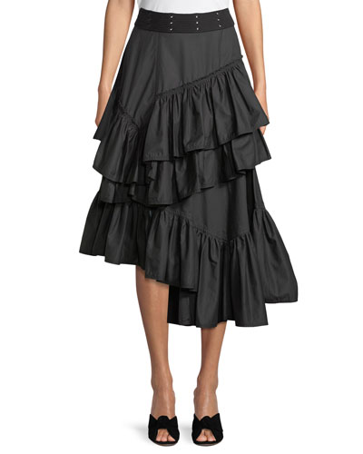 Asymmetric Multilayered Cotton Midi Skirt