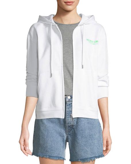 Helmut Lang Zip-Front Cotton Logo Hoodie Sweatshirt