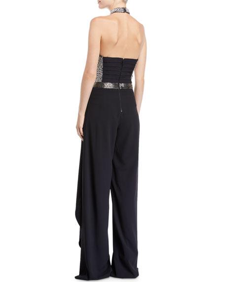 Latonya Embellished Bustier Ruffled Jumpsuit