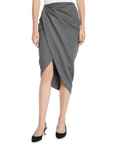 Draped Wool High-Low Pencil Skirt