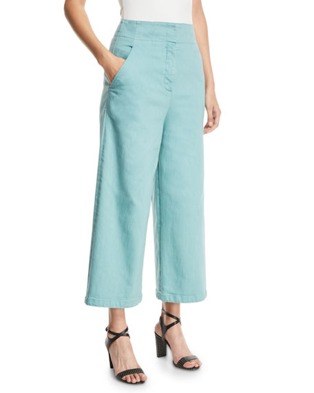 Demi Wide-Leg Garment-Dyed Twill Cropped Jeans