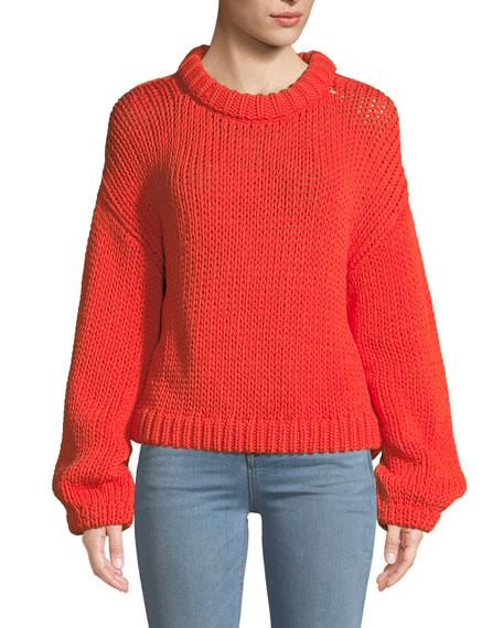 Tube Yarn Cropped Pullover Sweater in Orange