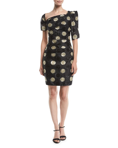 Vivian Asymmetric Polka Dot Fil Coupe Dress