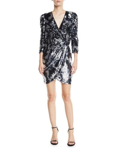 Zoey Sequined Camo 3/4-Sleeve Wrap Dress