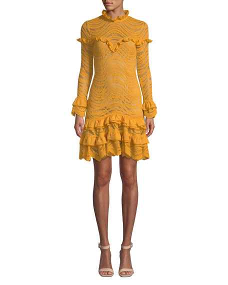 Jonathan Simkhai Mixed Lace Long-Sleeve Chiffon Ruffle Dress