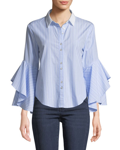 Ruffle-Sleeve Striped Oxford Button-Down Shirt