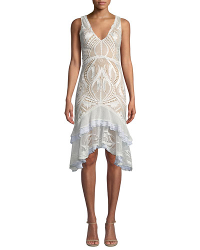 Guipure Lace V-Neck Tiered Cocktail Dress