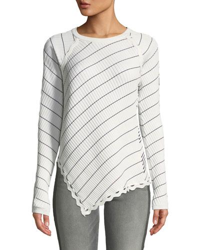 Zigzag-Trim Striped Long-Sleeve Asymmetrical Top