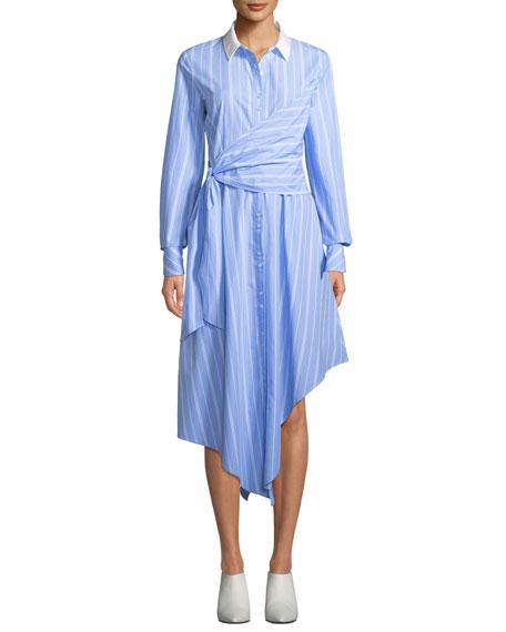 Jonathan Simkhai Asymmetric Long-Sleeve Wrapped Oxford Dress