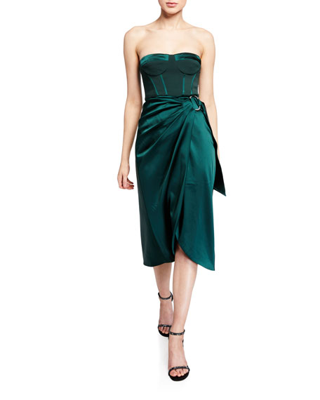 Jonathan Simkhai Crepe Satin Combo Bustier Cocktail Dress