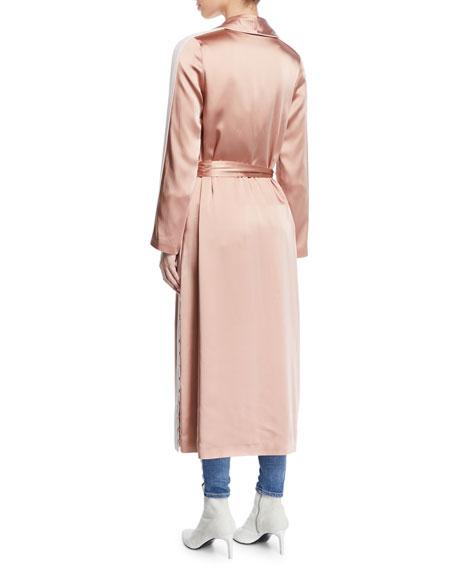Crepe Satin Combo Side-Stripe Robe Jacket