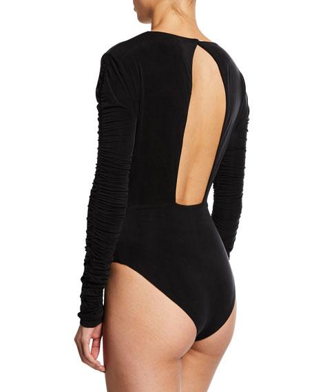 Sueded Jersey Ruched-Sleeve V-Neck Bodysuit