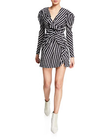 Multimedia Striped Ruffle Short Dress by Jonathan Simkhai