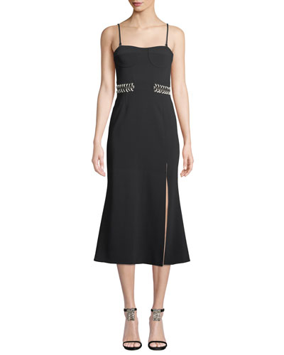 Crepe Bustier Midi Dress with Chain Detail