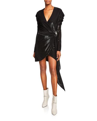 Metallic Puff-Sleeve Belted Short Dress