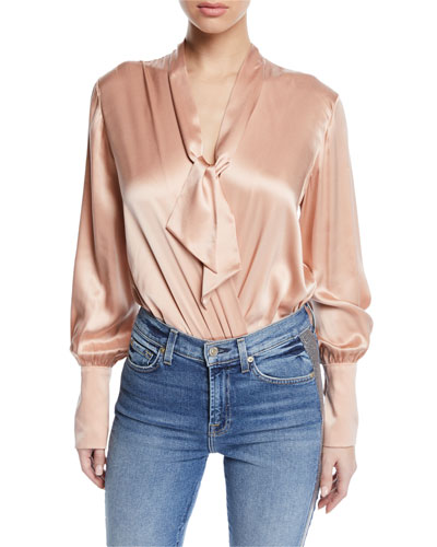 Silk Charmeuse Wrap-Front Bodysuit