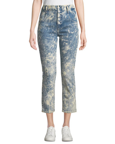 E-Cig High-Rise Bleached Button-Fly Jeans