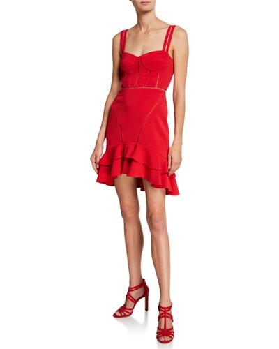 Crepe Combo Mini Ruffle Dress