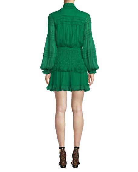 Shaina Smocked Blouson-Sleeve Ruffle Dress