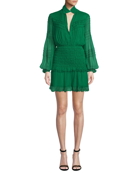 Shaina Smocked Blouson-Sleeve Ruffle Dress in Green