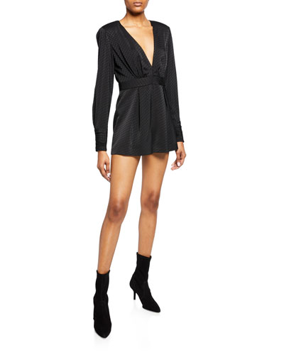 Murphy Long-Sleeve Deep V Romper