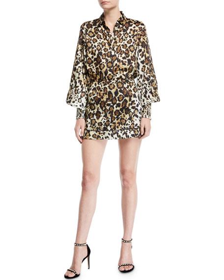 Rami Leopard-Print Short Skirt