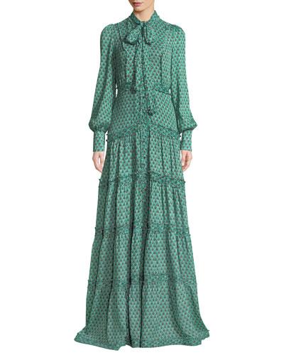 Margeaux Printed Button-Front Tie-Neck Maxi Dress