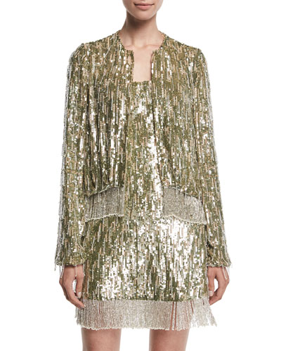 Ingram Sequined Fringe Metallic Jacket