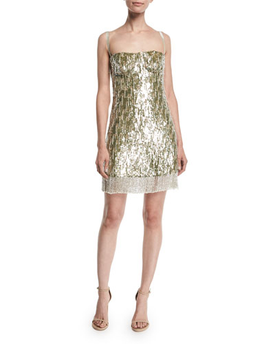 Izabell Sequined Fringe Cocktail Dress