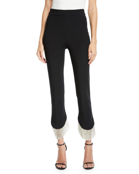 ALEXIS ASHLEY ASYMMETRICAL FRINGE SKINNY PANTS