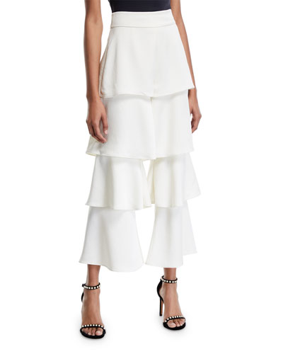 Parris Tiered Flare-Leg Cropped Pants