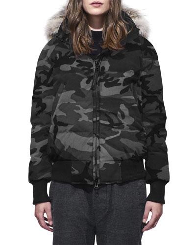Savona Camo Bomber Jacket w/ Fur-Trim Hood