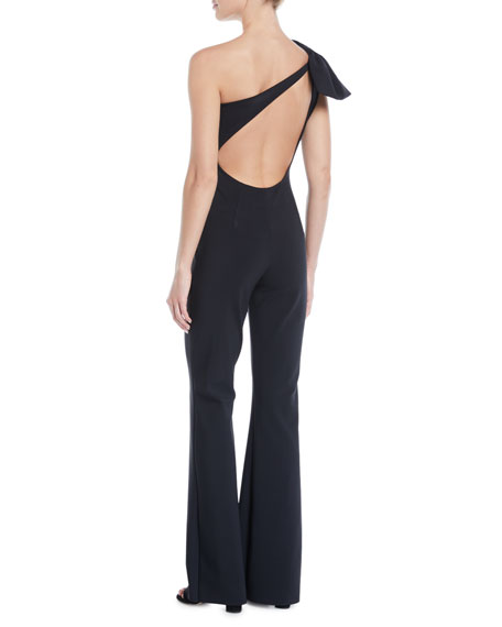 Hannele 1-Shoulder Open-Back Jumpsuit