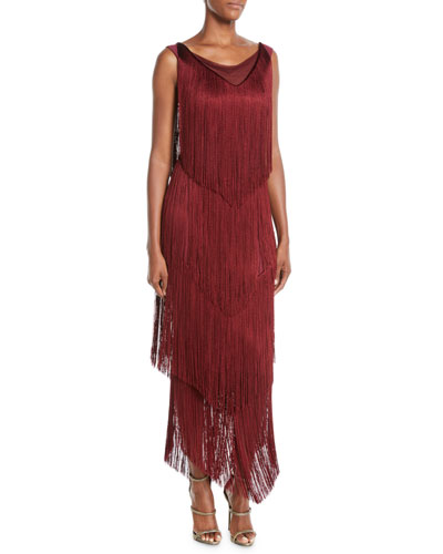 Casilda Tiered-Fringe Column Dress