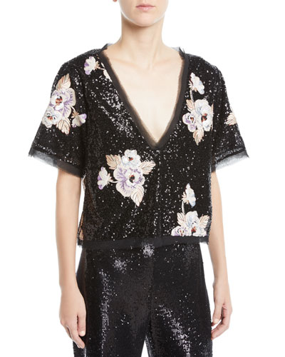 Sequin Daffodil Flower Top