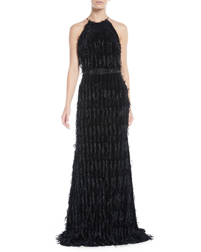 Beaded Fringe Halter Gown