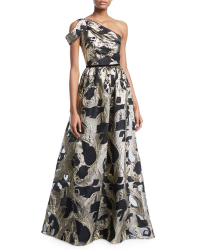 One-Shoulder Colorblock Fil-Coupe Gown