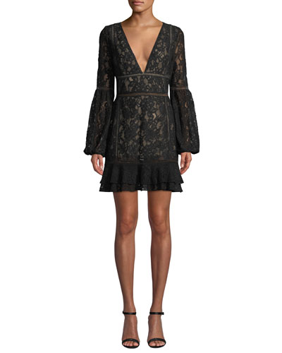 Harper Bell-Sleeve Lace Mini Dress