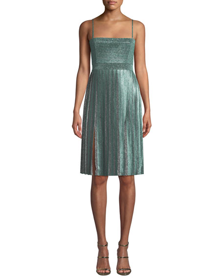 Janelle Double-Slit Metallic Dress
