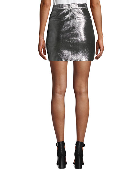 Marlin Belted Metallic Leather Mini Skirt