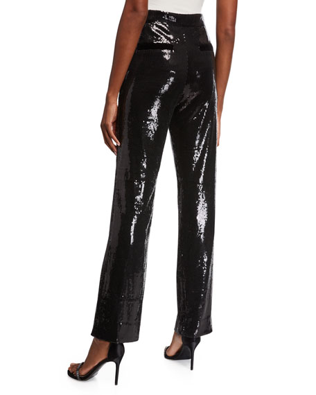 Dillon Sequined High-Waist Trousers with Belt